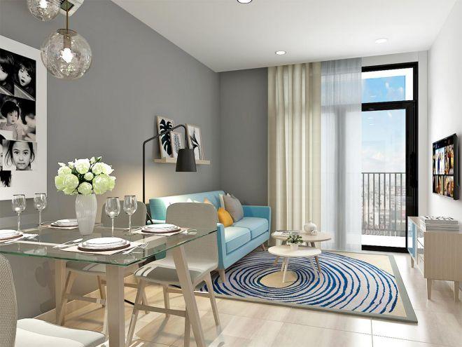 Không gian phòng khách mát mẻ, dịu dàng với thiết kế sofa xanh trời nhạt