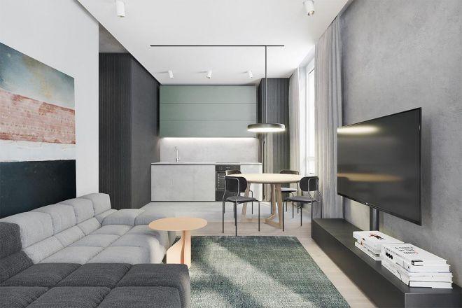 Tường trắng kết hợp với nội thất màu tối tạo chiều sâu cho căn phòng