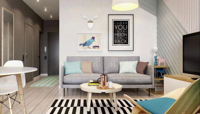 Thiết kế phòng khách sinh động với những vật trang trí nhiều màu sắc