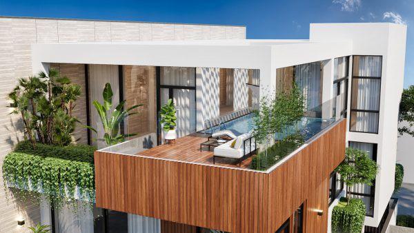 Mẫu biệt thự đẹp kiểu nhà vườn có hồ bơi trên sân thượng