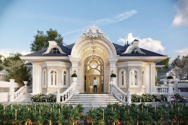Mẫu biệt thự nhà vườn 1 tầng đẹp
