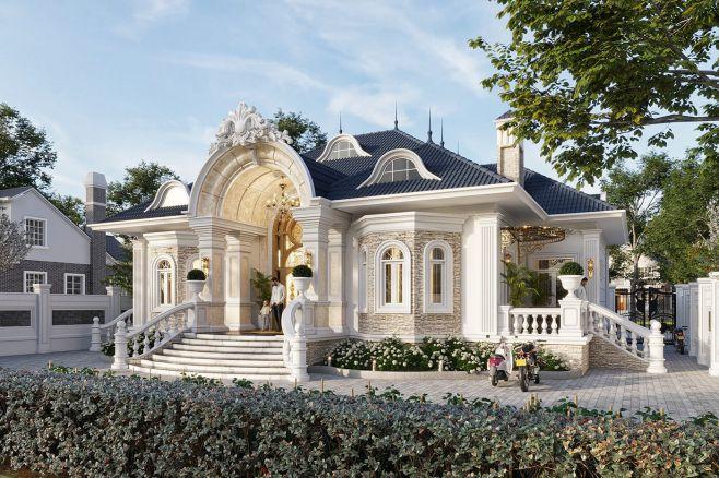 Hình khối kiến trúc biệt thự vườn 1 tầng ấn tượng