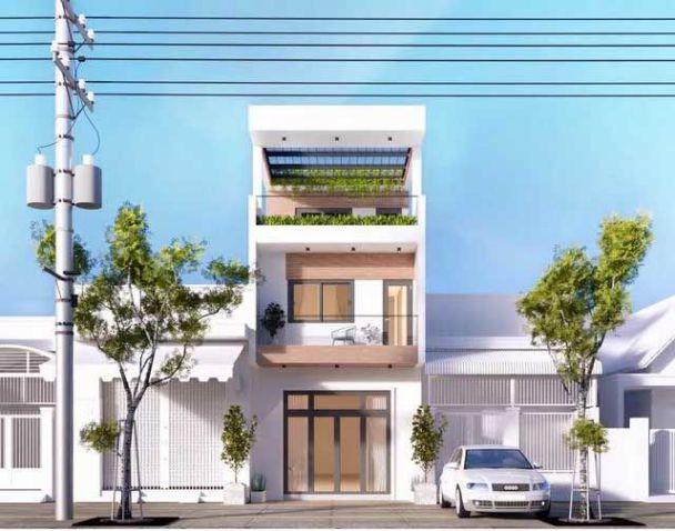 Mẫu nhà phố 2 tầng 1 tum mái bằng