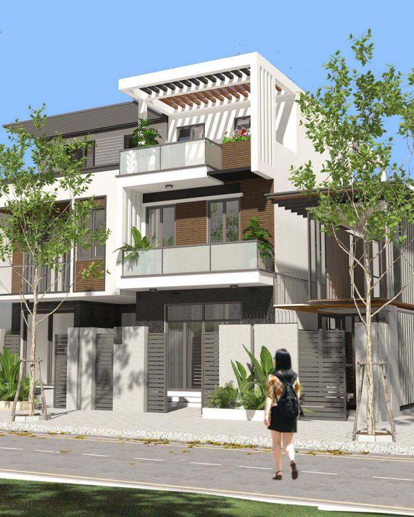 Mẫu nhà phố 2 tầng 1 tum mái bằng có sân thượng