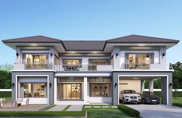 Thiết kế nhà 3 gian thêm 2 tầng hình chữ U