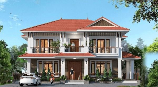 Mẫu nhà 3 gian 2 tầng kiểu kiến trúc mái thái