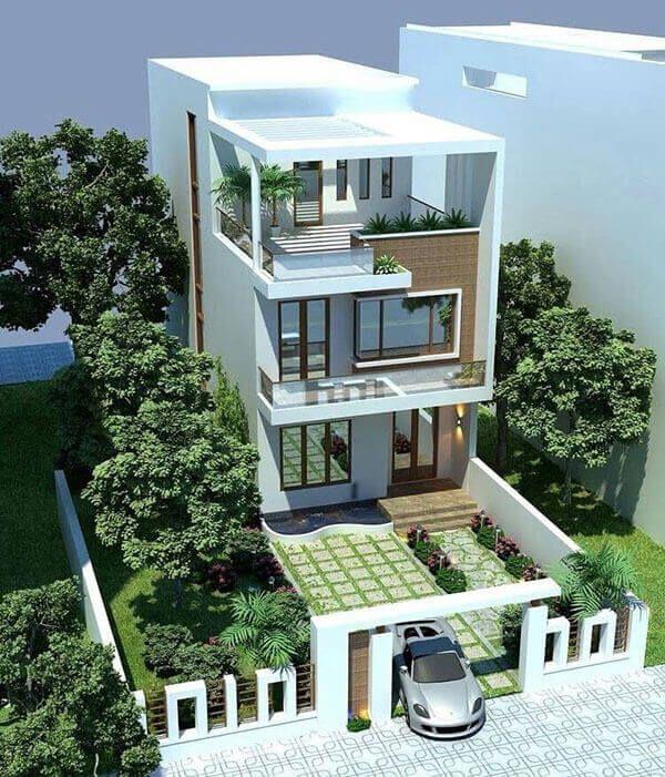 Thiết kế nhà 3 tầng màu trắng nâu
