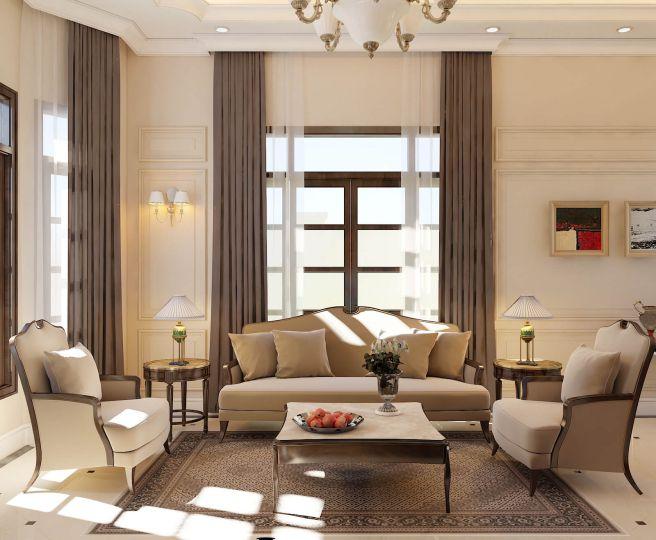 Phòng khách biệt thự vườn 1 tầng tân cổ điển đẳng cấp