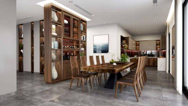 Mẫu biệt thự sở hữu phòng bếp và bàn ăn được sắp xếp gọn gàng