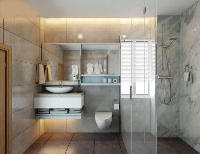 Phòng tắm được thiết kế đơn giản với nội thất cao cấp