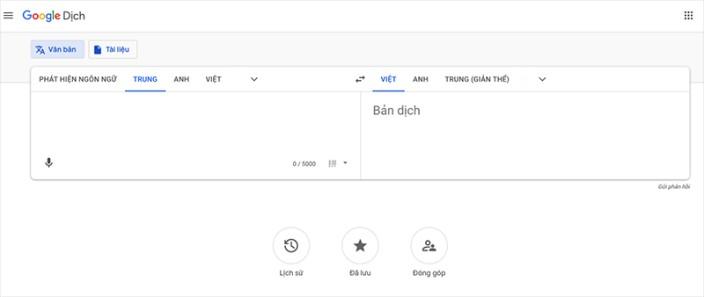 Google dịch tiếng trung qua tiếng việt