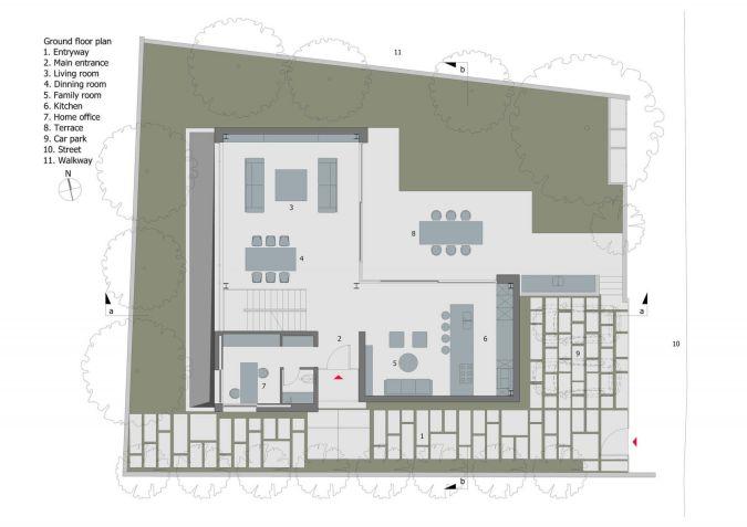Mặt bằng công năng tầng trệt nhà 2 tầng 4 phòng ngủ