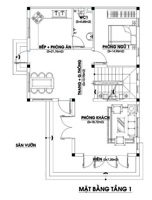 Mặt bằng công năng tầng 1 nhà 2 tầng mái thái