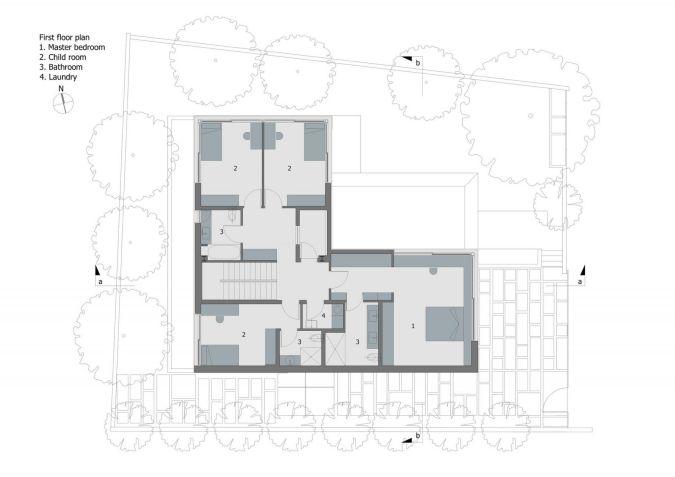 Mặt bằng công năng tầng 2 căn nhà 2 tầng 4 phòng ngủ
