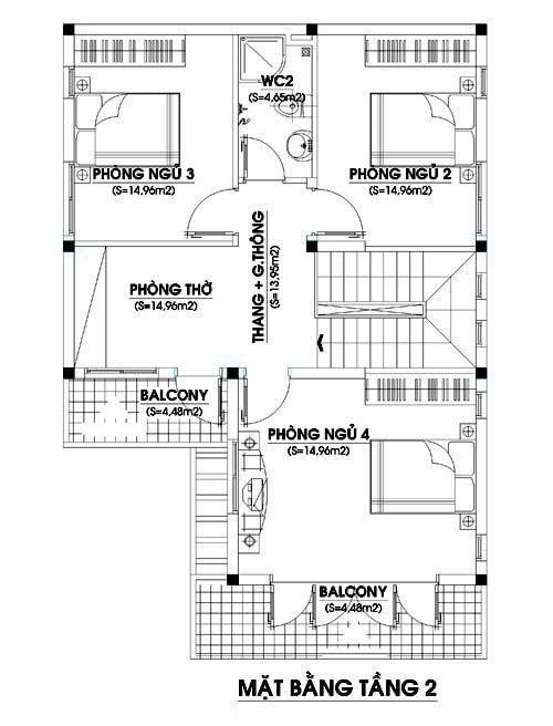 Mặt bằng công năng tầng 2 mẫu nhà 2 tầng mái thái chữ l