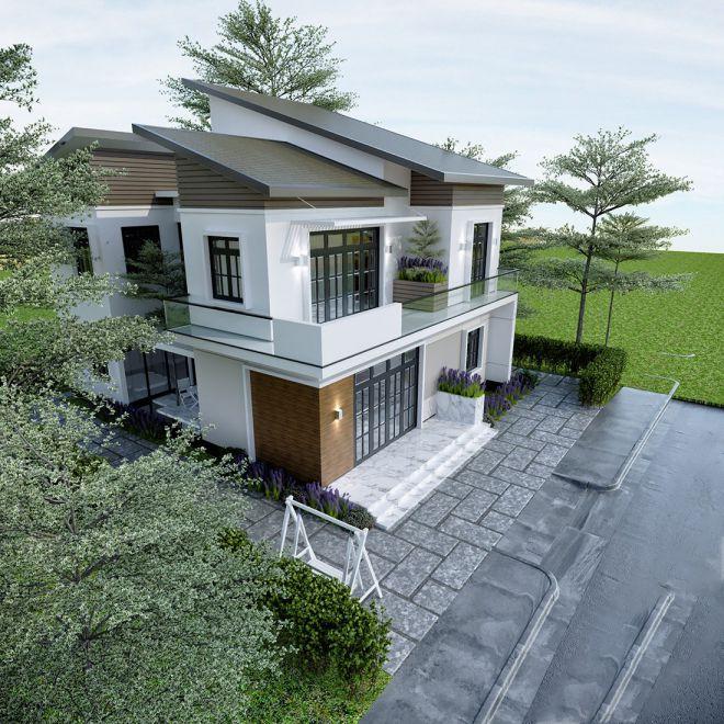 Xu hướng mẫu nhà 2 tầng mái lợp tôn đẹp hiện nah - Hình 2