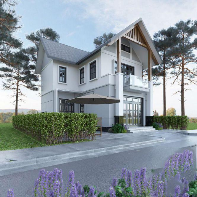 Thiết kế mẫu nhà 2 tầng mái lợp tôn hiện đại