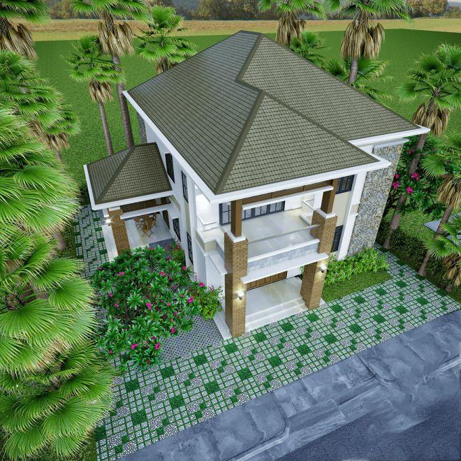 Thiết kế nhà 2 tầng mái lợp tôn ở nông thôn