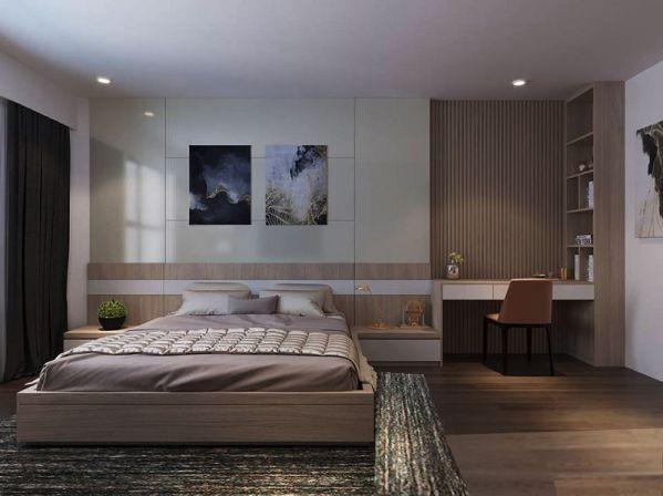 Thiết kế phòng ngủ bằng gỗ công nghiệp MDF -  Mẫu 5