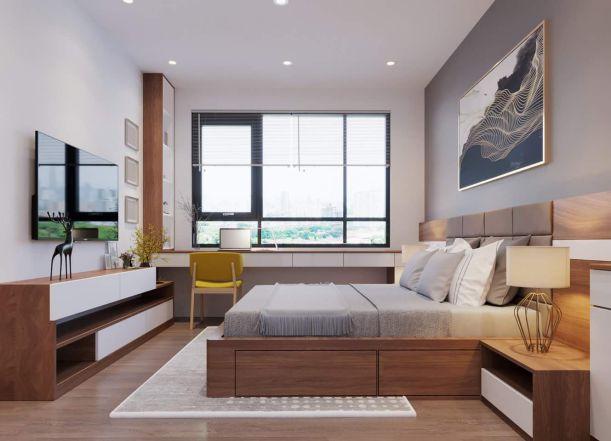 Thiết kế phòng ngủ bằng gỗ công nghiệp MDF -  Mẫu 1