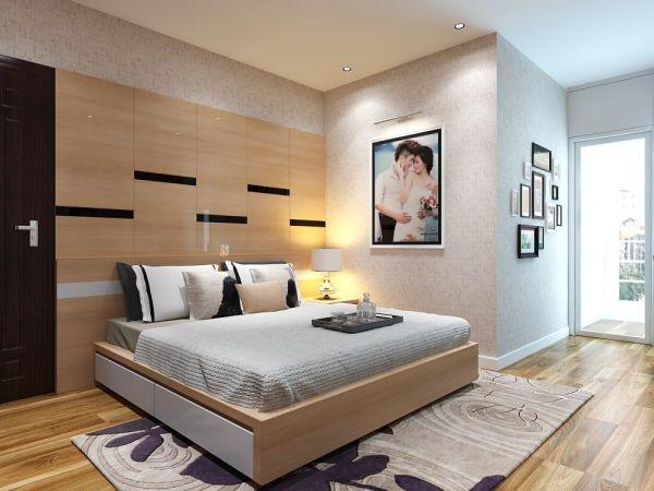 Thiết kế phòng ngủ bằng gỗ công nghiệp MDF -  Mẫu 4