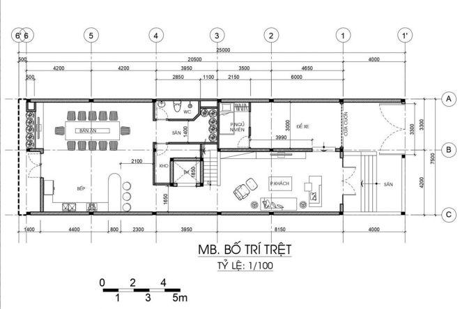 Mặt bằng công năng tầng 1 nhà 3 tầng mái thái