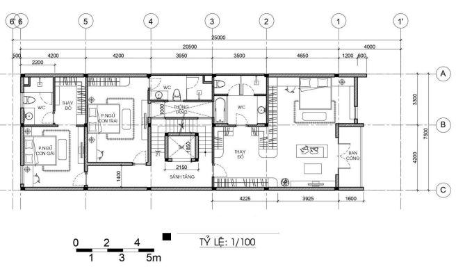 Bản vẽ thiết kế mặt bằng tầng 3  nhà phố 3 tầng