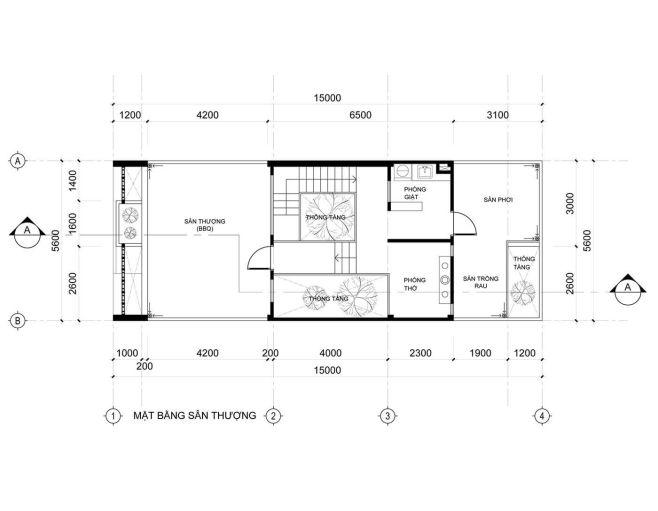 Mặt bằng tầng 3 mẫu nhà phố 3 tầng 5×20