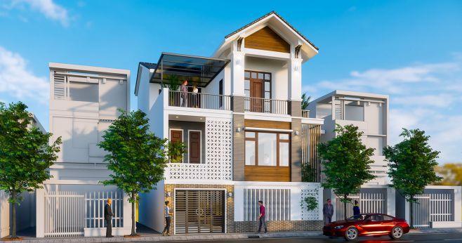 Phương án thiết kế kiến trúc nhà phố 3 tầng có 4 phòng ngủ
